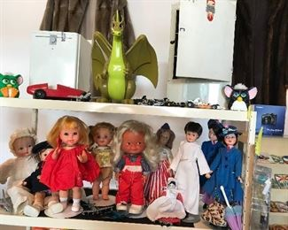 Zok the Herculoid, dishwasher and vintage refrigerator, Vintage dolls, Chatty Kathy baby, Hummels Werk doll, Flying Nun and Mary Popins some with clothing and accessories