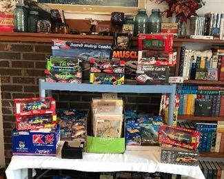 NIB Hot Wheels and Matchbox die cast cars and trucks, Nascar cars NIB , Comic books Man Thing, Star Wars, Archie's. DC's and Marvels, books, Barney Google paper, Carry-Lite folding cardboard goose decoy