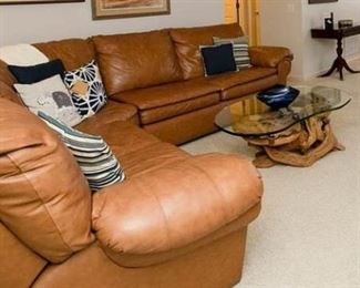 Leather Sofa/Bed/Reclines.