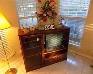 Lot 243 - TV & Contents Only of Entertainment Center