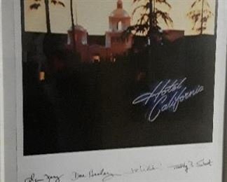 Eagles Hotel California  30th Anniversary 1972-2002 signed poster.  Summer tour 2002.  1,340/1,500