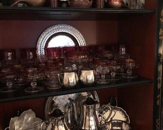 Large set of Ruby glass and silverplate