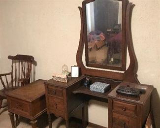 Antique vanity, nightstand, wood chair