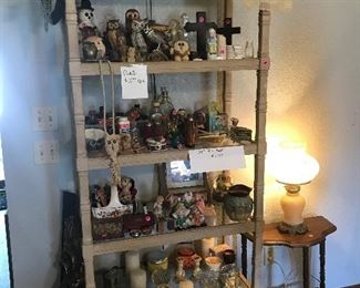 Owls, antique bottles, medicine bottles, vases