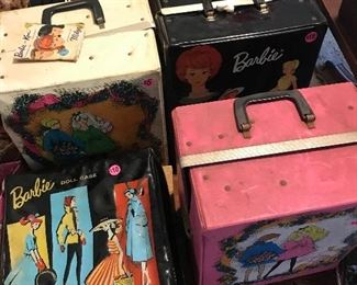 Vintage Barbie doll vases, lots of Barbie clothing.