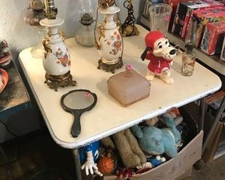 Beanie babies, dolls,  antique oil lamps