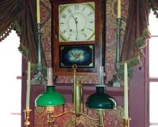 Eli Terry Pillar & Splat Clock, Emerald Glass Double Student Lamp