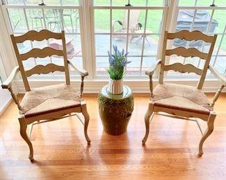 6. Pair of Habersham Rush Seat Arm Chairs