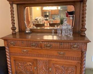 "9. Antique Carved Oak 2 pc Breakfront (54"" x 23"" x 75"")"