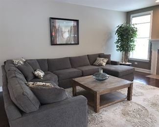Radley Sectional sofa made for Macy's , original wooden coffee table  and living-room area rug