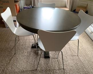 """30. Round Dining Table (44"""" x 31"""") 31. Set of 4 White Side Chairs  (19"""" x 19"""" x 33"""")"""