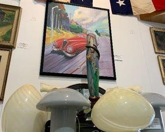 Murano glass lamps, original car art, American bunting