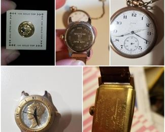 Free mason 10k pin Detroit,  Waltham Mercury Dime watch, Elgin pocket watch with pocket knife, Lord Elgin 14k watch from Ford motor co. 35th anniversary signed by Henry Ford