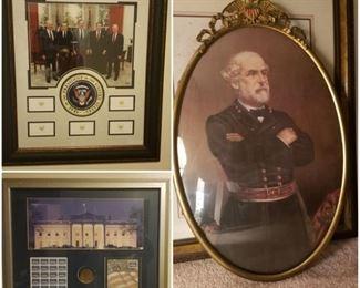 Presidential seal framed photo, White House framed photo of then five living presidents. An impressive antique style framed portrait of General Robert E. Lee.
