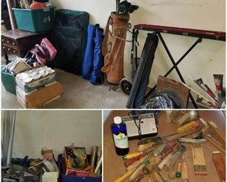 Outdoor Sporting goods including golf clubs, ski sets, snowboards, baseball gear, biking equipment, pool sticks and more. Wooden handle and other durable vintage tools, paint supplies, travel crate, Mason jars, accent table, and much more.