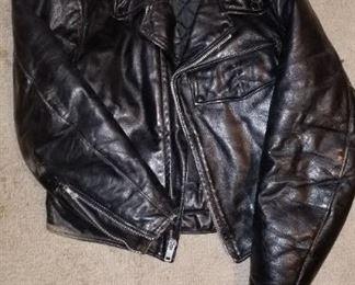 Vintage motorcycle police leather jacket Metropolitan Police Headquarters Detroit