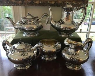 Art Nouveau Sterling Silver Tea/Coffee set with sugar, creamer, and waste bowl