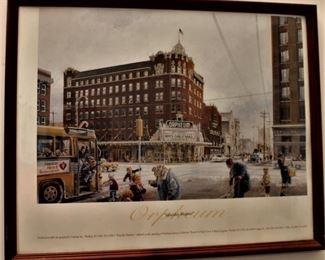 Orpheum Theater print from a Hugh Greer original lithograph