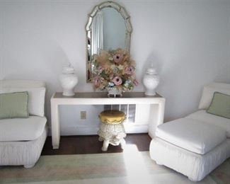 Mirror..Parsons Side Table..Chairs & Ottoman (Henredon)...