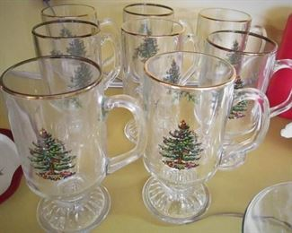 Spode Holiday Glass Mugs