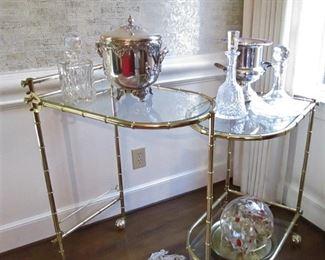 Brass & Glass Bar Cart...Waterford Decanter...
