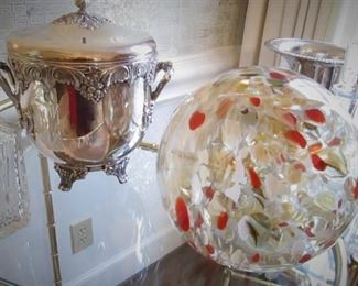 Silver Plate Ice Bucket...Glass Ball