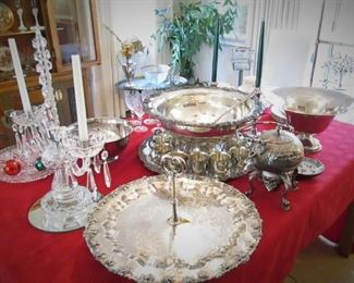 Silver Plate Punch Bowl...Serving Platter....
