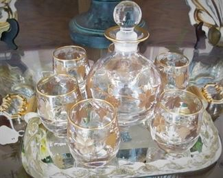 Murano Glass Decanter Set withTray