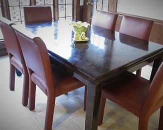 Dining Table and 7 Leather Chairs