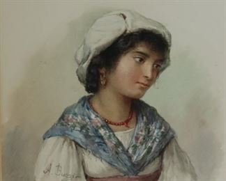 A BUZZI Signed Watercolor Of A Young Girl