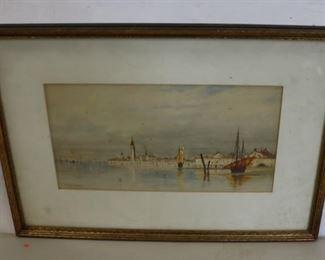 A F Bunner Signed Watercolor Ships At Sea