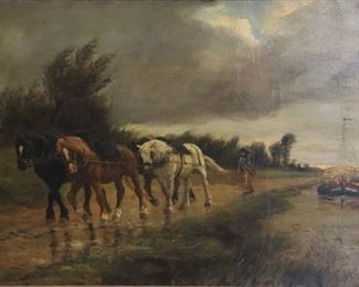 ALFRED ELIAS Signed Oil On Canvas Horse Pulling