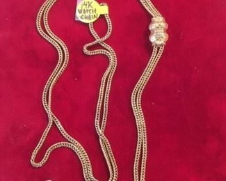 ANTIQUE 14K GOLD WATCH CHAIN