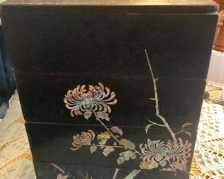 Gorgeous Chinese antique mother of pearl inlay lacquer stationary set with letter tray outstanding!
