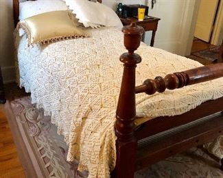 Rope bed w horse hair mattress