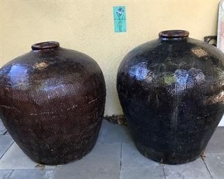 Rare Chinese plum wine urns