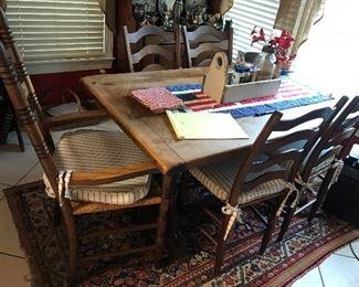 Antique Farm Table / 5 Chairs $ 324.00