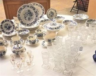 68 Pieces Blue White Windsor 1920s Cordial Glasses