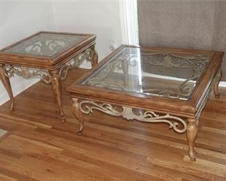 2. Two 2 Glass Top Tables with Carved Decoration