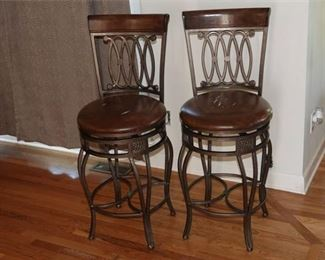 6. Pair of Barstools with Faux Leather Seats