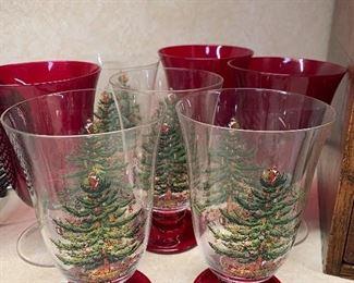 Spode and Lenox Christmas Goblets