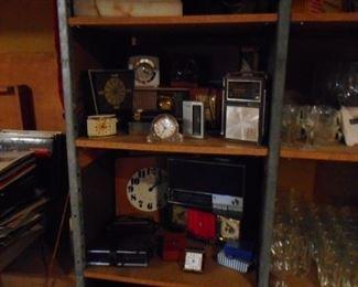 Shelf Filled with Vintage Clocks, Radios