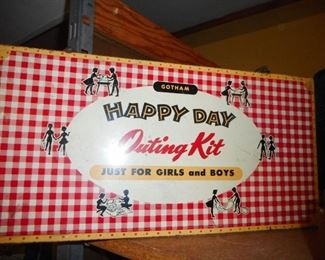 VHTF Happy Day Large Metal Lunch Box Outing Kit