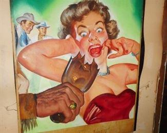 1950ish Pulp Art  on Watercolor Board
