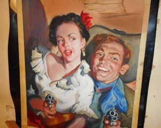 AWESOME FIND!! 1950ish Western Pulp Art on Watercolor Board. They are not signed.. Could of been for Western Comic Book? Movies? They are upstairs in Living Room..