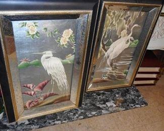 Mid Century Mirror Bird Wall Art Sold as PAIR