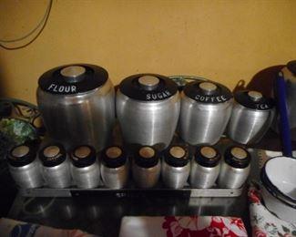 Kromex Mid Century Spun Alum Canisters, Spice Rack