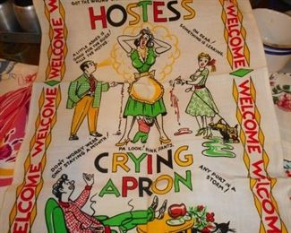 Hostess Crying Towel..1950's Printed Linen..