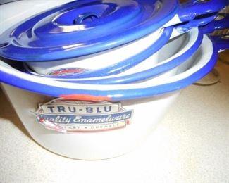 Tru Blue Enamelware Different Pots, Bowls Original Label.We moved it to the Basement!!