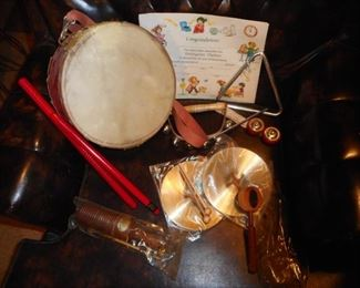 IF you remember this..LOL!! Vintage Hohner  Rhythm Instruments.. Triangle, Cymbals, Drum with Drum Sticks, Tambourine .In Original Plastic Sleeves